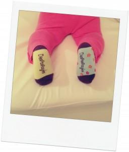 chaussettes des pas rayés verso
